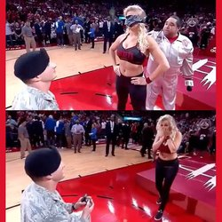 Returning Airman Proposes to Houston Rockets Dancer During Blindfolded Halftime Stunt