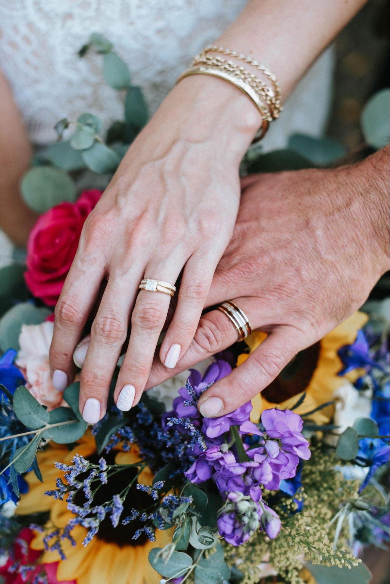 Photo of couple's hands wearing wedding rings